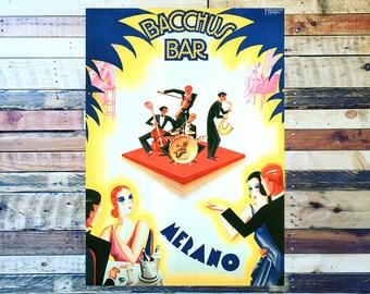 Bacchus Bar Vintage Ad, Liquor Ad,  Vintage Art, Giclee Art Print, fine Art Reproduction