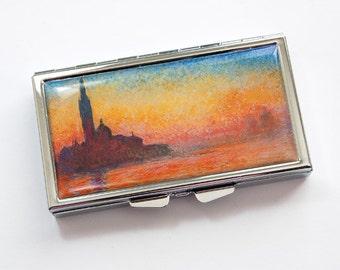 Monet Pill Box, Pill Case, Pill box, Monet, 7 day, 7 sections, Fine Art Pill Case, Saint-Georges majeur au crépuscule, Monet Case (3866)