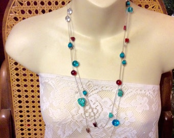 Genuine turquoise lamp work glass and shell vintage beaded necklace.