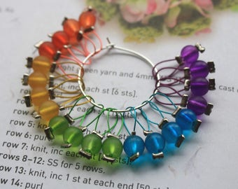 20 Knitting stitch markers frosted rainbow