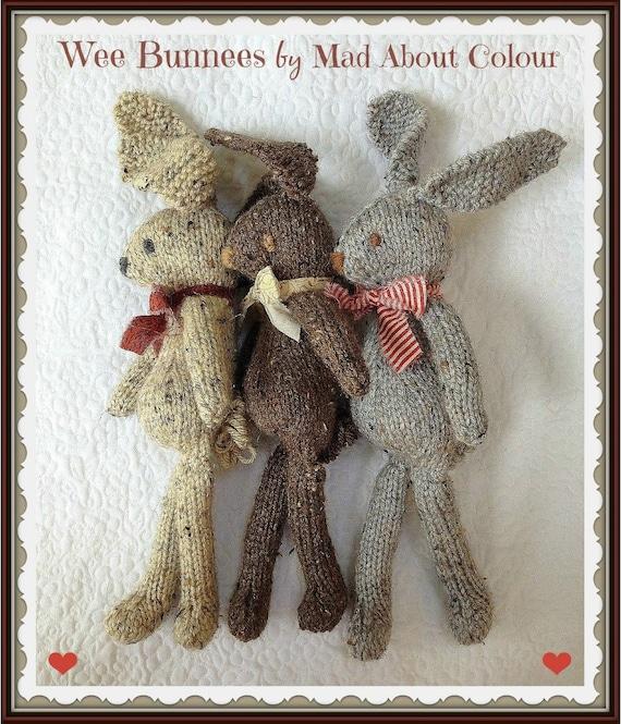 Knitting Pattern Rabbit Ears : Bunny rabbit knitting pattern stuffed toy animal pdf