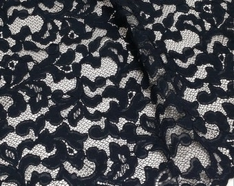 Black lace fabric by the yard, French Lace, Embroidered lace, Wedding Lace, Bridal lace Evening dress lace Lingerie Lace Alencon Lace L12715