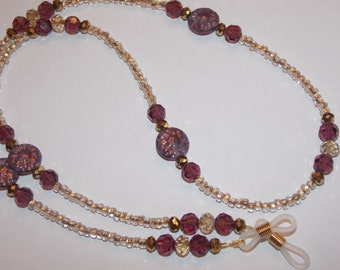Purple and Gold Czech Glass Flower Purple and Gold Bead Seed Bead Eye Glass Chain Holder