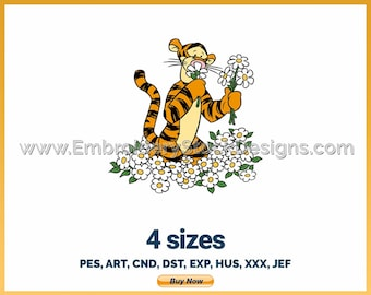 Tigger Smelling Flowers - Holiday Inspired Disney Logo Character Designs - 4 sizes Embroidery
