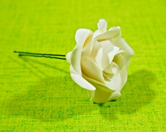 Clay rose on a hairpin | Hair accessories | Handmade clay flowers