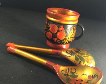 Vintage Khokhloma Russian Spoons and Handled Cup
