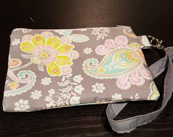 Grey and Bright Paisley Wristlet