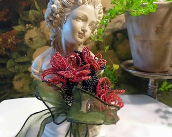 Beaded Flowers Large Red Roses Tied Ribbon