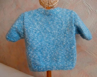 Girl 12 to 18 months, blue, short sleeve sweater