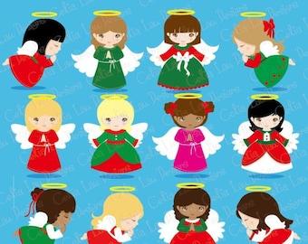 Christmas Angels Digital Clipart, Angel Clipart, Angel Clip Art, Christmas Clipart, Holiday Clip Art