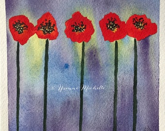 Poppies No. 011 - Original Watercolor Painting, Floral, Art, Wall Decor