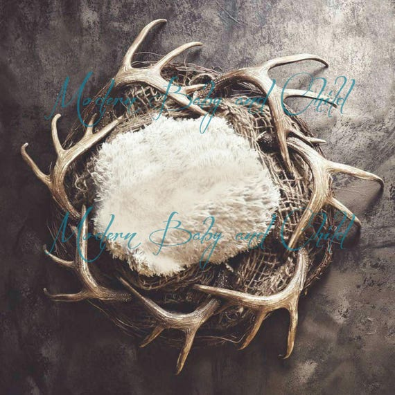 Hunting newborn backdrop digital with props snow deer antlers nest reindeer boy download hunting digital backdrop christmas snow covered from