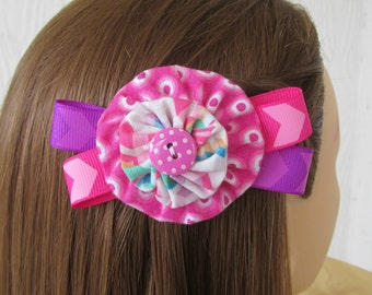 Pink Hair Clip, Polka Dots / Chevron, Ribbon Hair Accessories, Hot Pink, Purple, eclectiKIDS