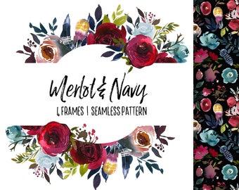 Navy Watercolor Etsy