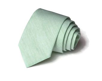 Green Chambray Necktie~Anniversary Gift~Wedding Tie~Boys Necktie~Mens Necktie~Wedding~Mens Tie~Boys Tie~Green Tie~ Chambray Tie