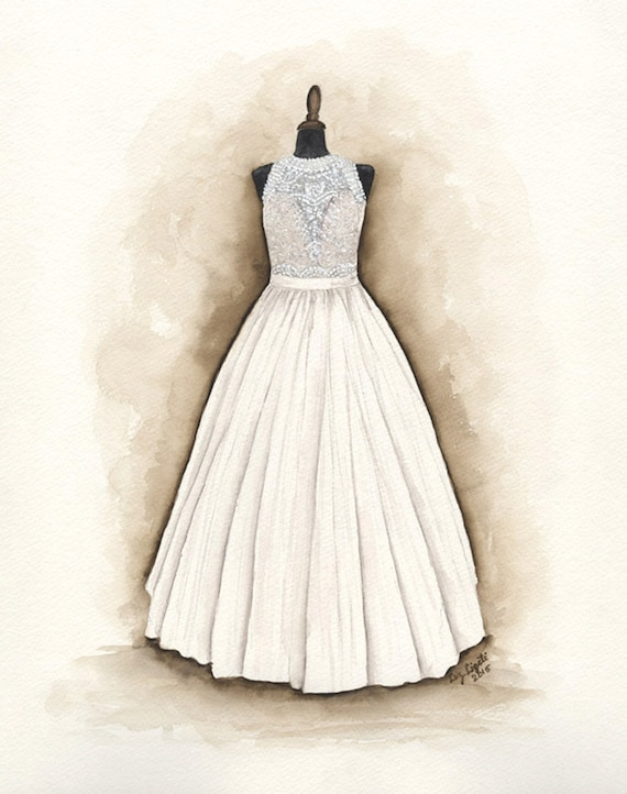 watercolor wedding dress custom wedding dress painting watercolor unique gift for 8368