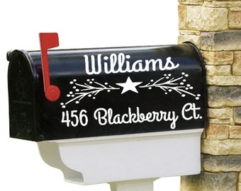 Vinyl Mailbox Decal, Set of 2, Personalized, Family, Name, Pip Berry, Star, Primitive, Mailbox Decoration, Rustic, Farmhouse, Curb Appeal