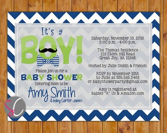 It's a Boy Baby Shower Invite Bow Tie Mustache Navy Blue Lime Shower Invitation Navy Chevron Shower Invite 5x7 Digital JPG File 242)
