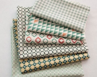 Scandinavian Nordic Swedish Vintage Simple Pattern Fabric Cotton 100% Panel, 6 Design fabric Package