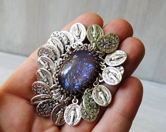 Saint Medal Ring, Tribal Ring, Adjustable Ring, Statement Ring, Blue Opal, Gypsy Ring, Boho ring, Sacred heart ring, Catholic gift, Tribal