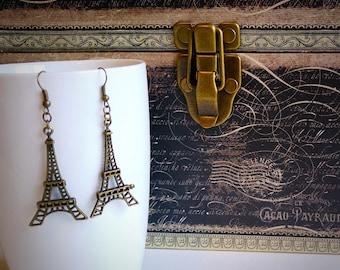 Ohrhänger Bronze Eiffelturm, Paris, Geschenk für sie, stocking Stuffer, handgefertigt von Felicianation