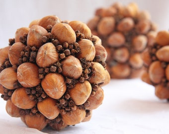 Hazelnut and clove ball kitchen decor Centerpieces table decor home decor natural rusty brown decoration spice scent Christmas decor