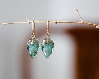 18K Prasiolite Earrings, 14K Prasiolite Earrings, Sage Prasiolite Pointy Drop Earrings, 18K Solid Gold Earrings, 14K Gold Leverback Earrings