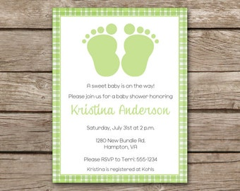 Baby Feet Shower Invitation, Baby Feet Invitation, Baby Shower Invitation, PRINTABLE