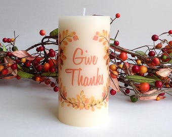 Give Thanks Candle, Thanksgiving Table, Fall Decor, Fall Candle, Hostess Gift, Thanksgiving Candle Thanksgiving Decorations Fall Decorations