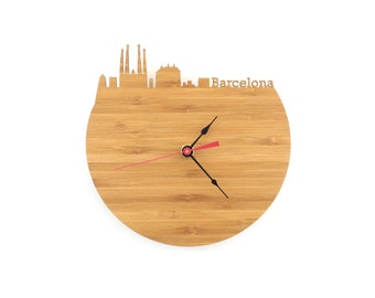 Barcelona Modern Clock - City Skyline Wall Clock - Spain