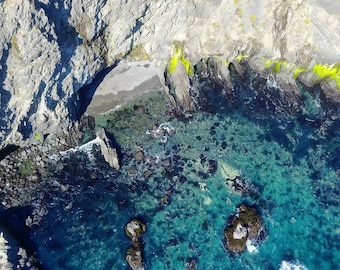 Aerial Photography at the rocky beach