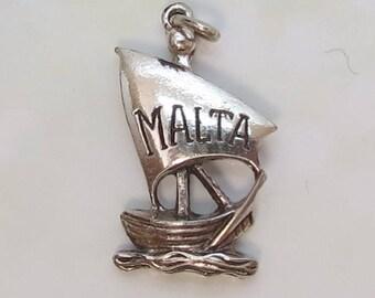 Vintage Sterling Silver Malta Sailing Ship Charm