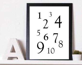 Numbers | Digital Download | Nursery Decor | Home Decor | Office | Wall Art