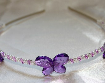 Purple butterfly tiara, purple butterfly wedding headband, bridesmaid tiara, purple prom tiara, beaded tiara