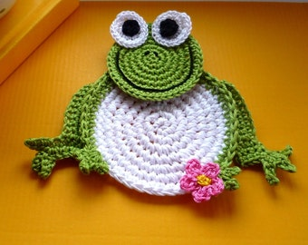 Crochet Frog Coasters - Animal Coasters - Frog Drink Coaster - Crochet Frog - Gift for Couple - Housewarming Gift - Frog Applique - Set of 2