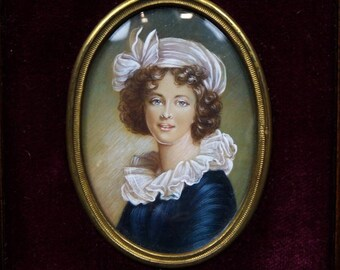 Exquisite French antique / vintage miniature portrait of a young lady, framed.