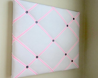 "16""x20"" Memory board, Bow Board, Ribbon Board, Bow Holder, Vision Board, Organizer, Memo Board, Grey and Pink"