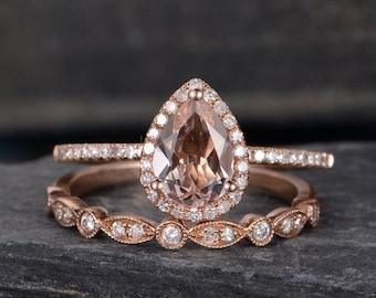Pear Shaped Morganite Engagement Ring Set Rose Gold Bridal Set Wedding Halo Diamond Half Eternity Band Women Tear Drop Anniversary Gift