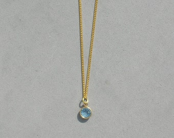 March Birthstone- Aquamarine Gold Plated Drop Necklace