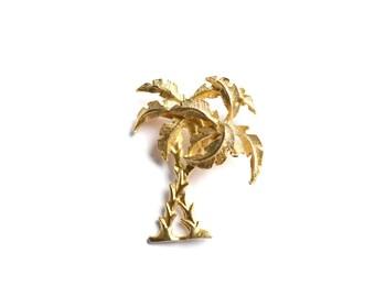 Palm Tree Brooch, Palm Tree Pin, Vintage Brooch, Gold Brooch, Retro Brooch, 1960s Brooch, 60s Brooch