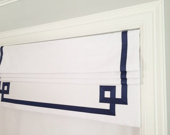Faux (fake) flat roman shade valance, with greek key banding grosgrain ribbon.  The perfect solution!  You choose fabric and ribbon color!!