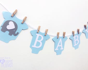 Blue BABY Banner with elephants, baby bodysuit, romper shape. Party Bunting, Photo prop. Baby Shower Banner with text. Pastel blue white.