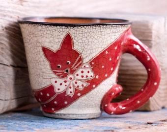 Ceramic mug, Handmade pottery, Handmade mug, Mugs pottery, Red Cat mug, gift for women, rustic style
