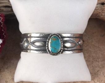Pilot Mountain Turquoise & Sterling Silver Navajo Cuff Bracelet