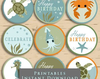 Ocean Theme Birthday Cupcake Toppers Nautical Beach Party Printables DIY Printable INSTANT DOWNLOAD
