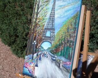 Autumn Landscape Paris, France  Vintage Take on  1800s,  Watercolor Painting. 24x10 inches on canvas