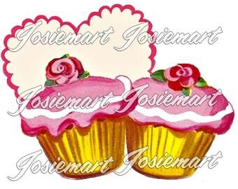 Vintage Digital Download Pink Cupcakes Vintage Image Collage Large JPG