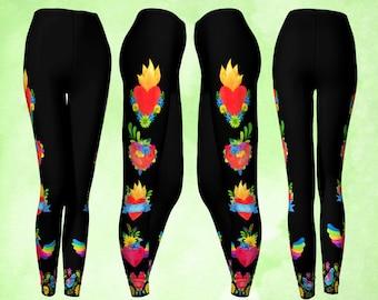 Leggings, Colorful leggings, Sacred Heart, Flying heart, Cute leggings, colorful leggings, gypsy leggings, boho pants, colorful pants, heart