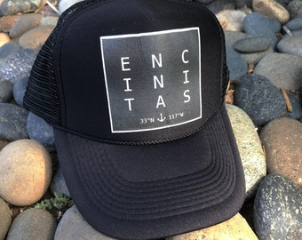 Trucker Hats, ENCINITAS Cactus, limited ed, w/pin back button Beach, California, One Size Fits All, foam trucker hat, Surf, Best Seller