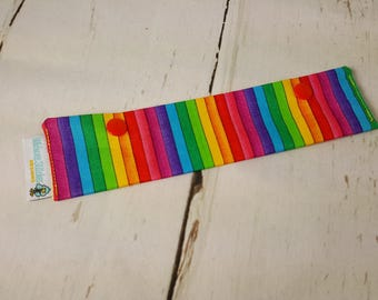"""Narrow Rainbow Long Needle Cozy - project holder 8""""x2"""" - (Hold up to 7"""" Needles), DPN holder  NCL0004"""
